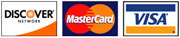 We accept Visa, Mastercard, and DiscoverCard.